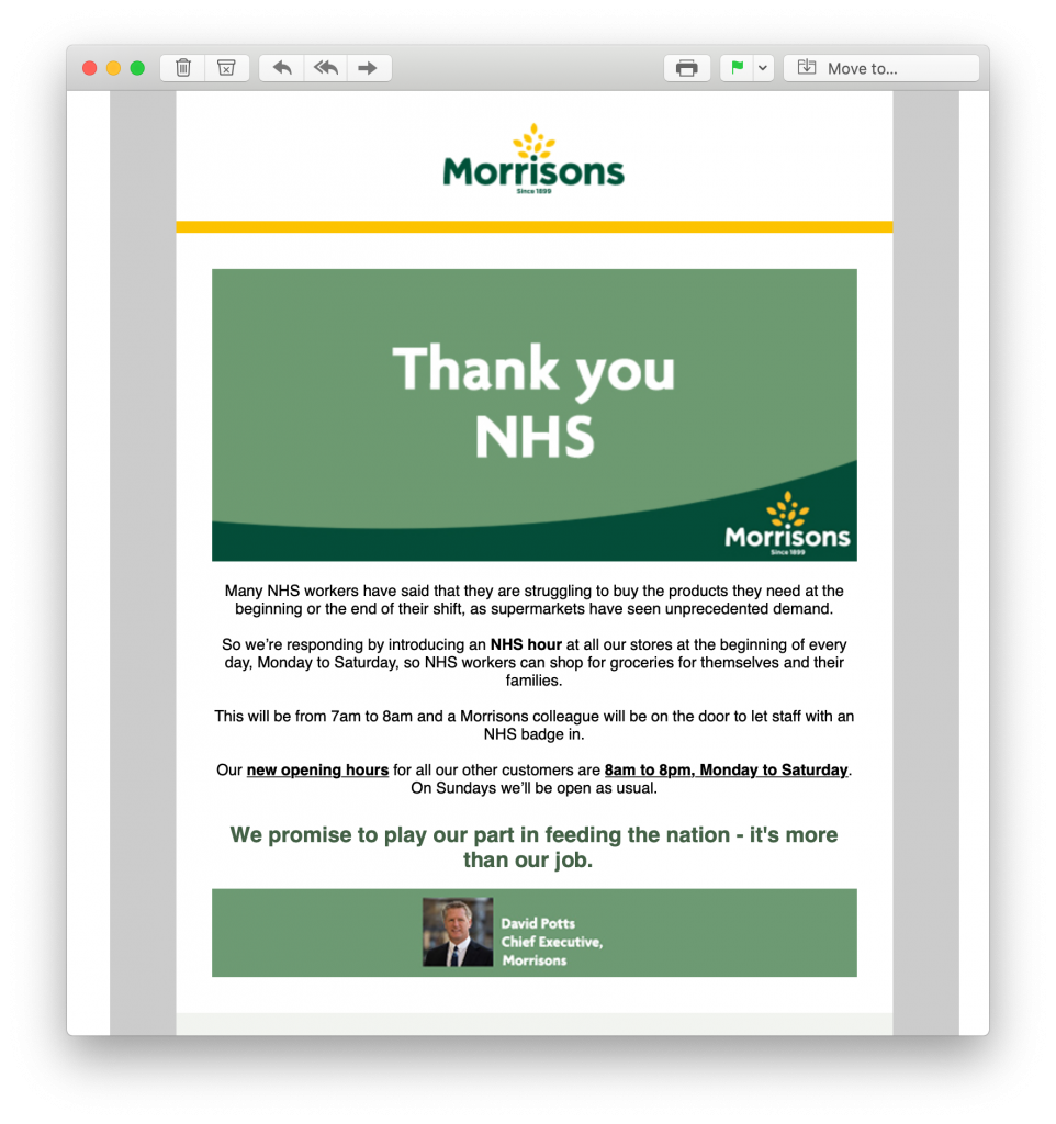 Crisis email by Morrisons giving back to the community