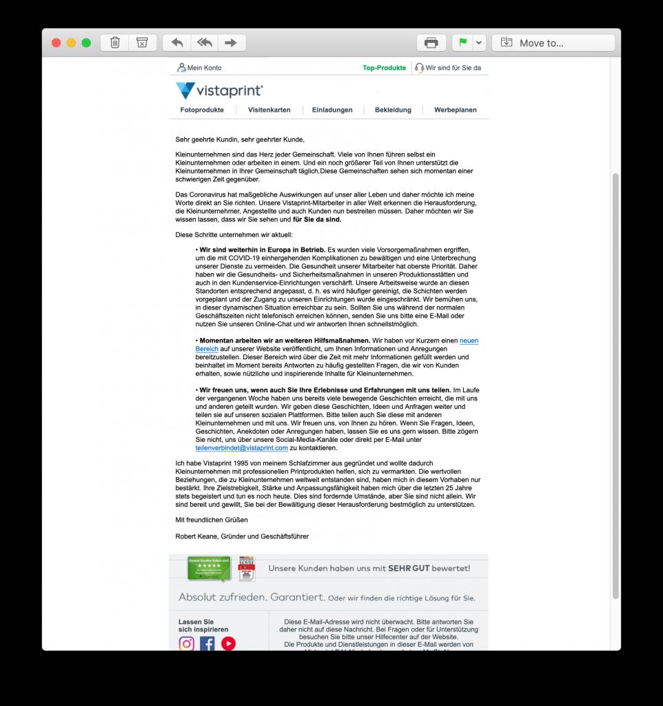 Coronavirus crisis email from Vistaprint