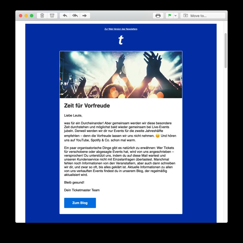 E-Mail-Reaktion zum Coronavirus von Ticketmaster