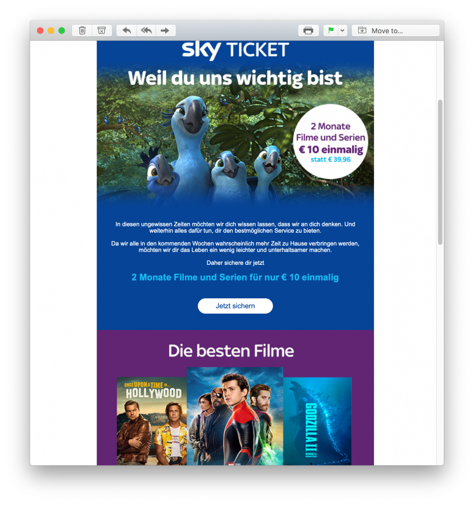 E-Mail-Promotion von Sky