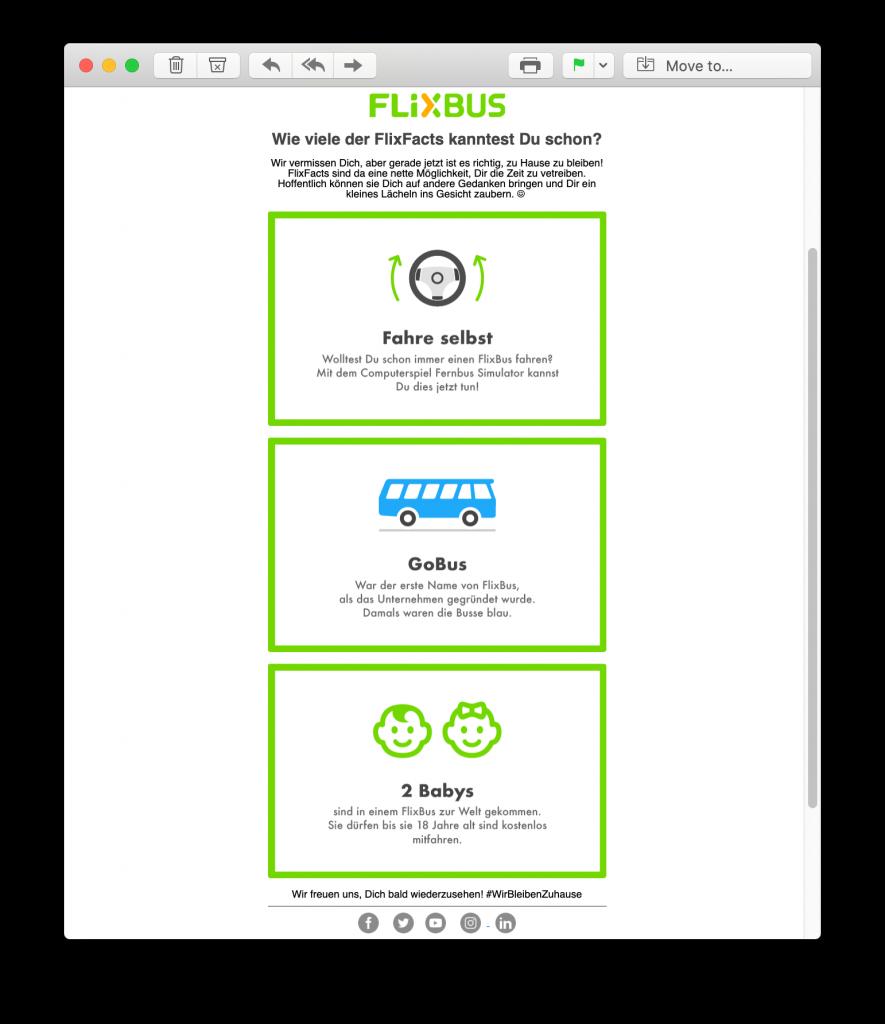 Lustige E-Mail-Promotion von Flixbus in der Coronaviruskrise