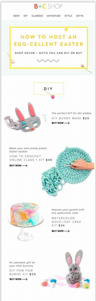 Easter email design by B + C