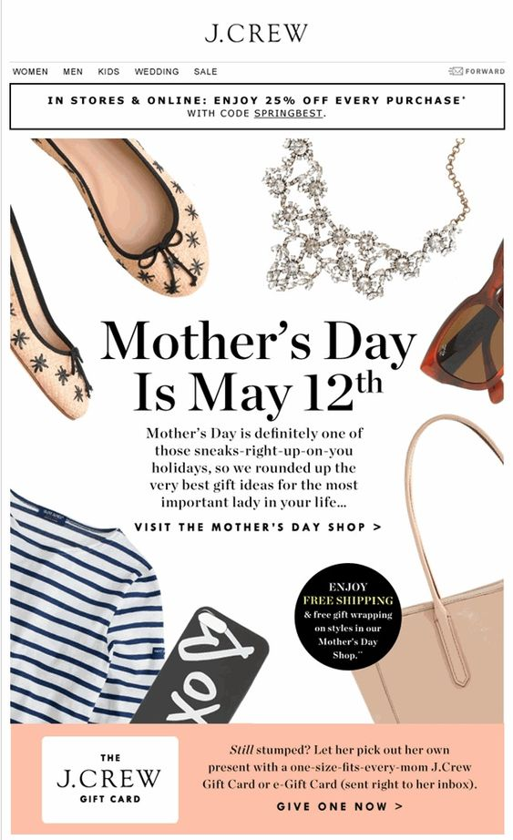 J Crew email campaign for Mother's Day