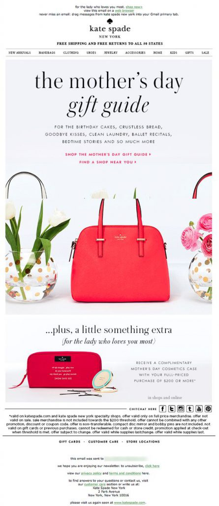 Mother's Day email campaign by Kate Spade