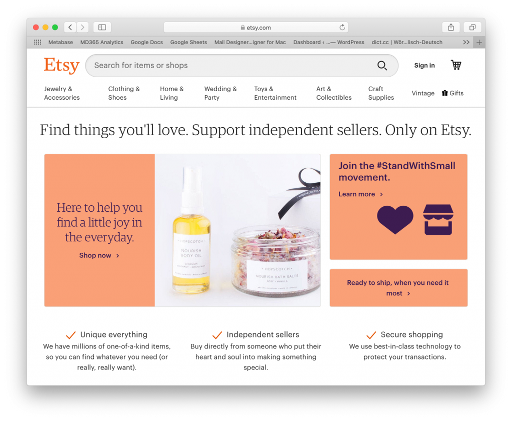 Etsy as a small business tool for independent sellers