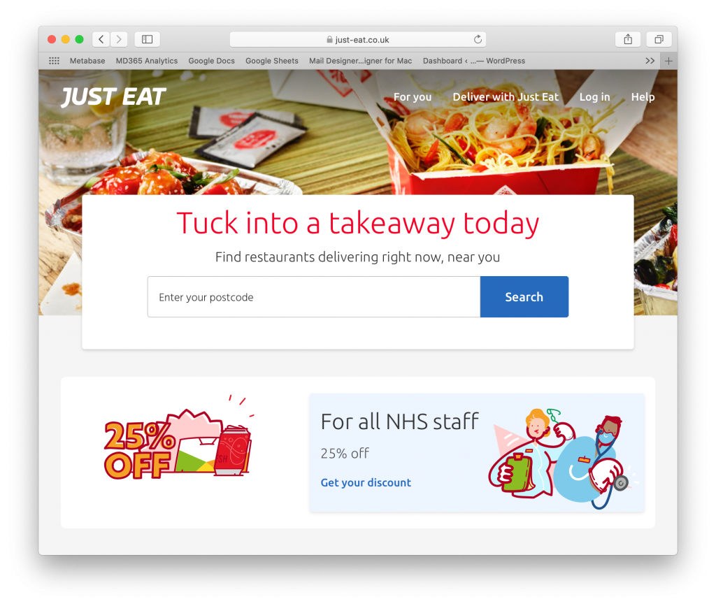 Just Eat as a small business food delivery tool