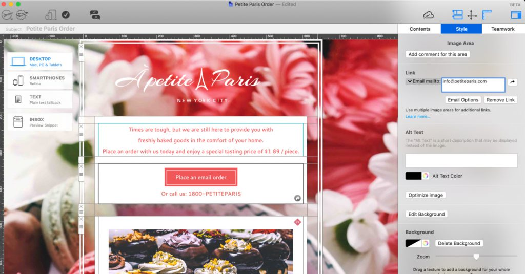 Small business email example for a bakery