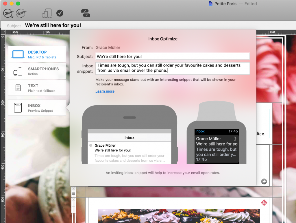 Inbox preview tool in Mail Designer 365