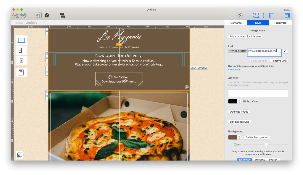 Restaurant email template in the Mail Designer 365 app