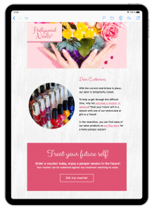 Mail Designer 365 email template for salon owners