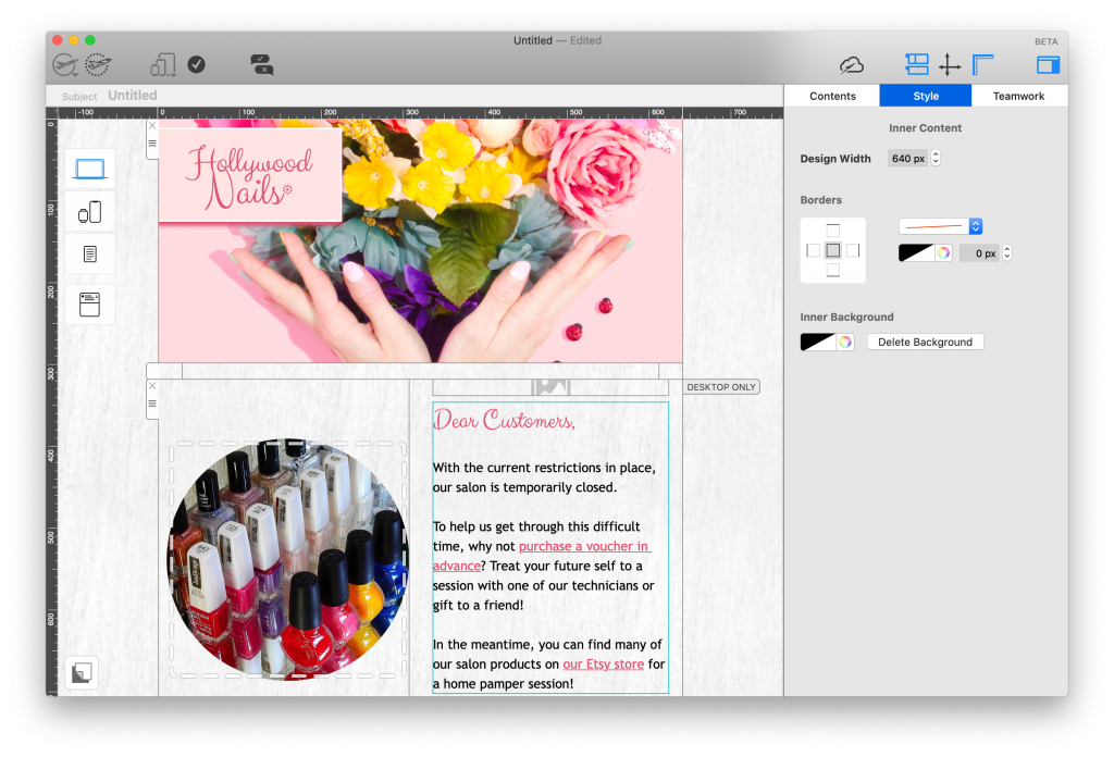 Salon email template in Mail Designer 365