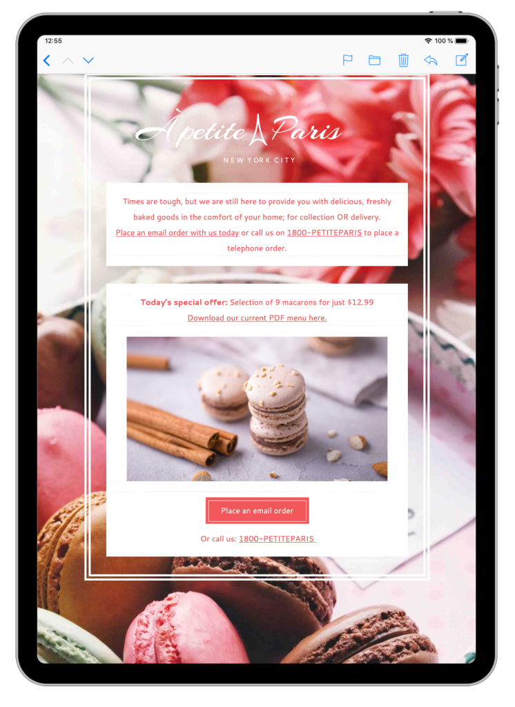 Bakery email template in Mail Designer 365
