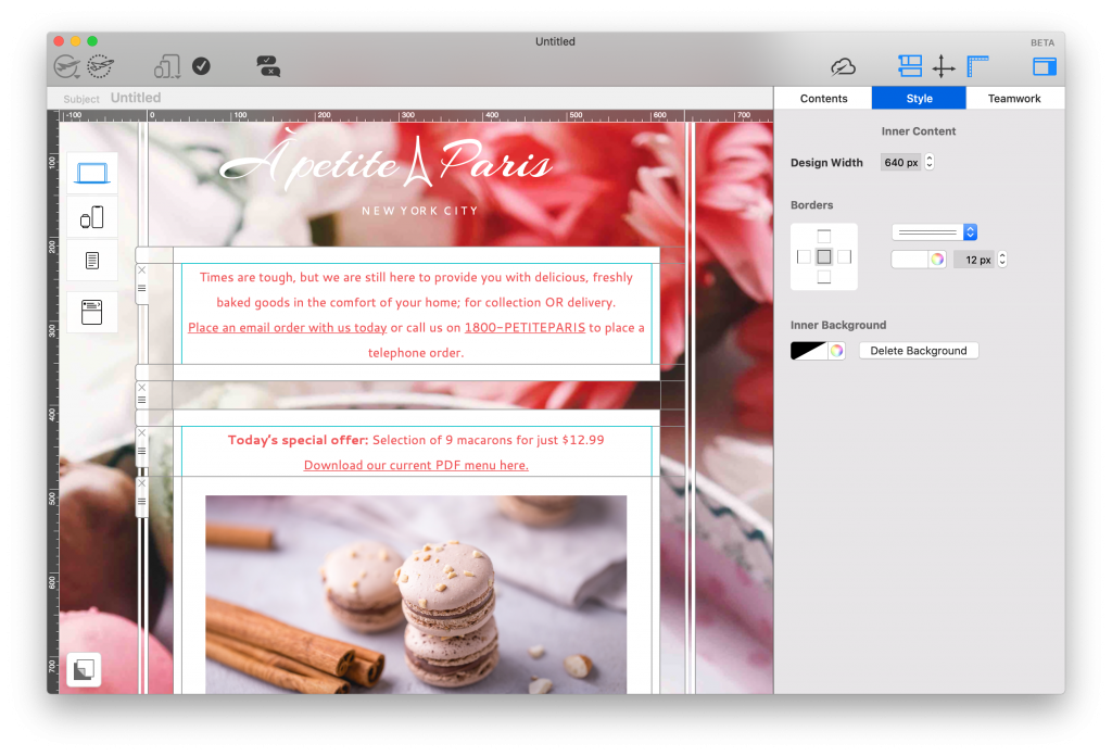 Mail Designer 365 cake store email template in design view