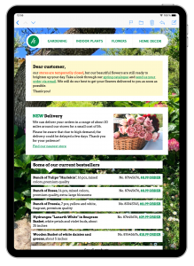Florist email template in Mail Designer 365
