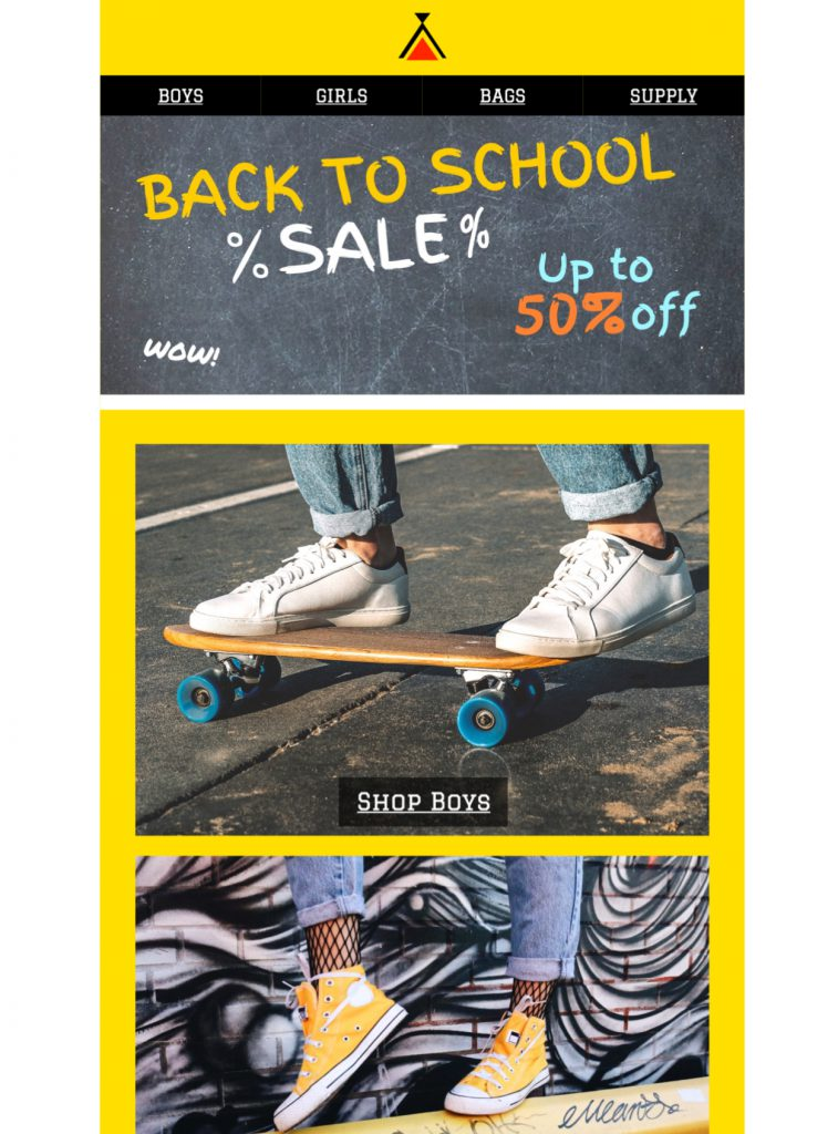 back to school sale html email template