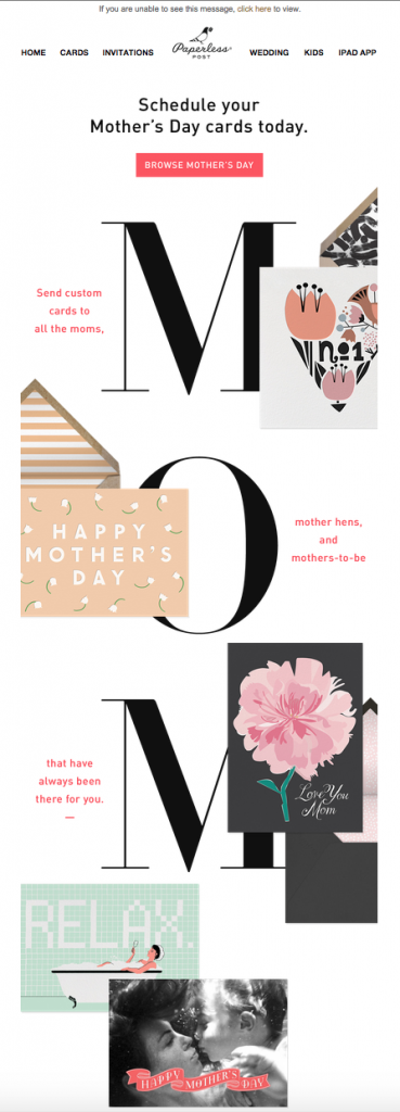Mother's Day email campaign by Paperless Post
