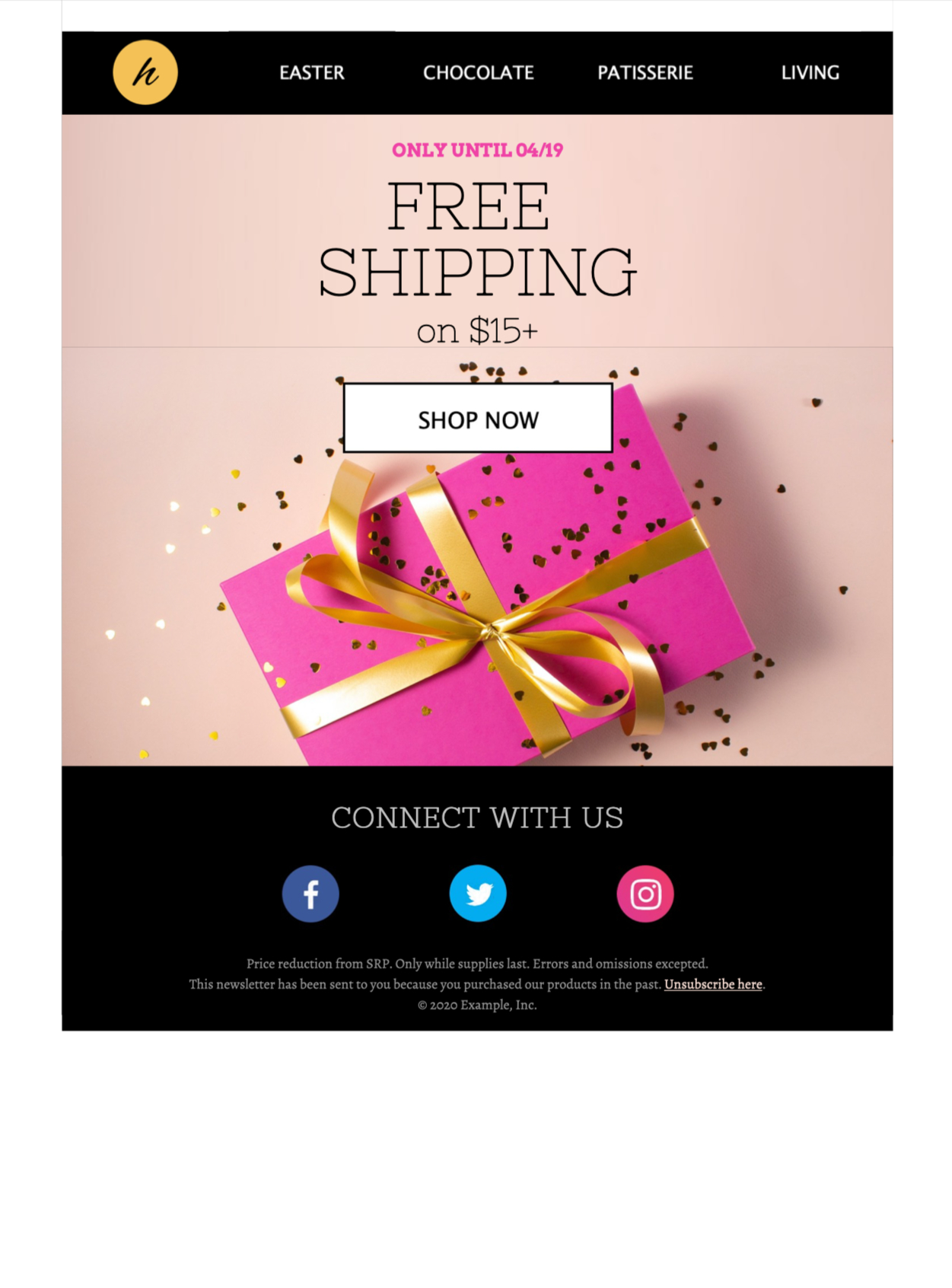 easter shopping html email design for an easter promotion