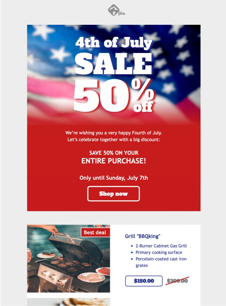html email template for independence day email campaign