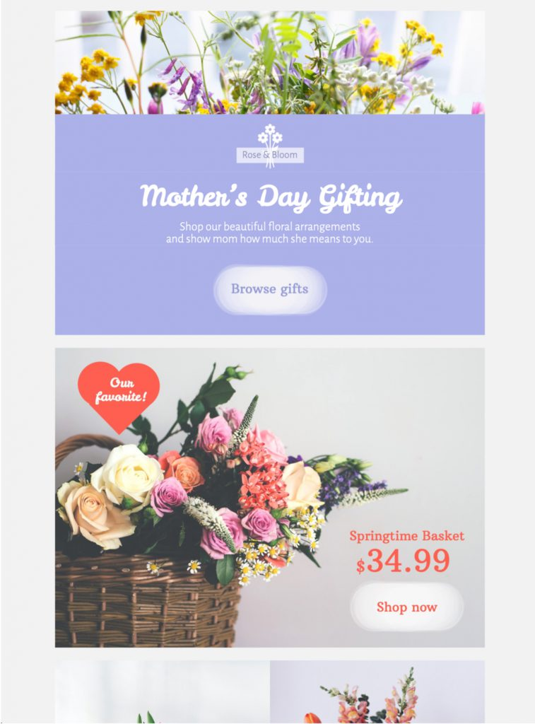 html email template for mother's day