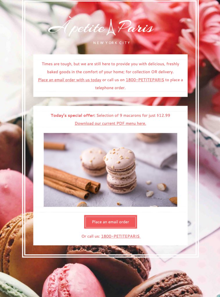 html email template for independent bakers and cake stores