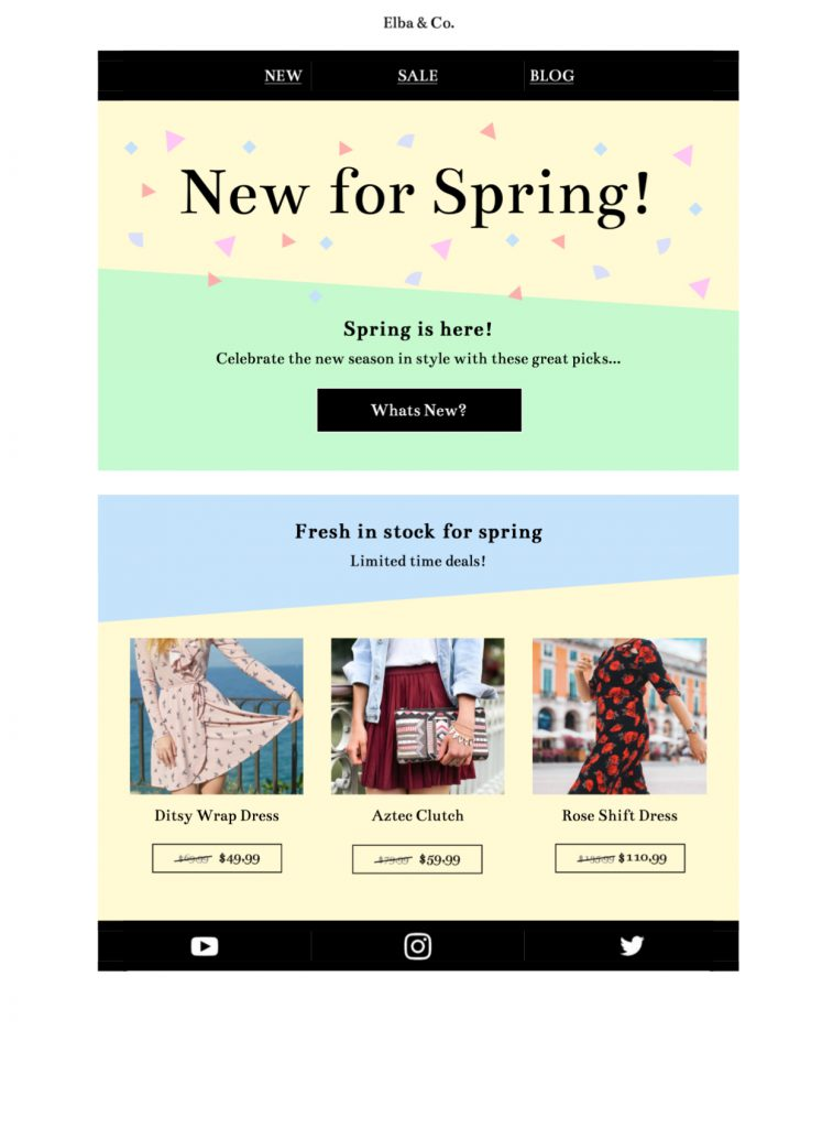 Spring Colors Spring themed html email design in Mail Designer 365