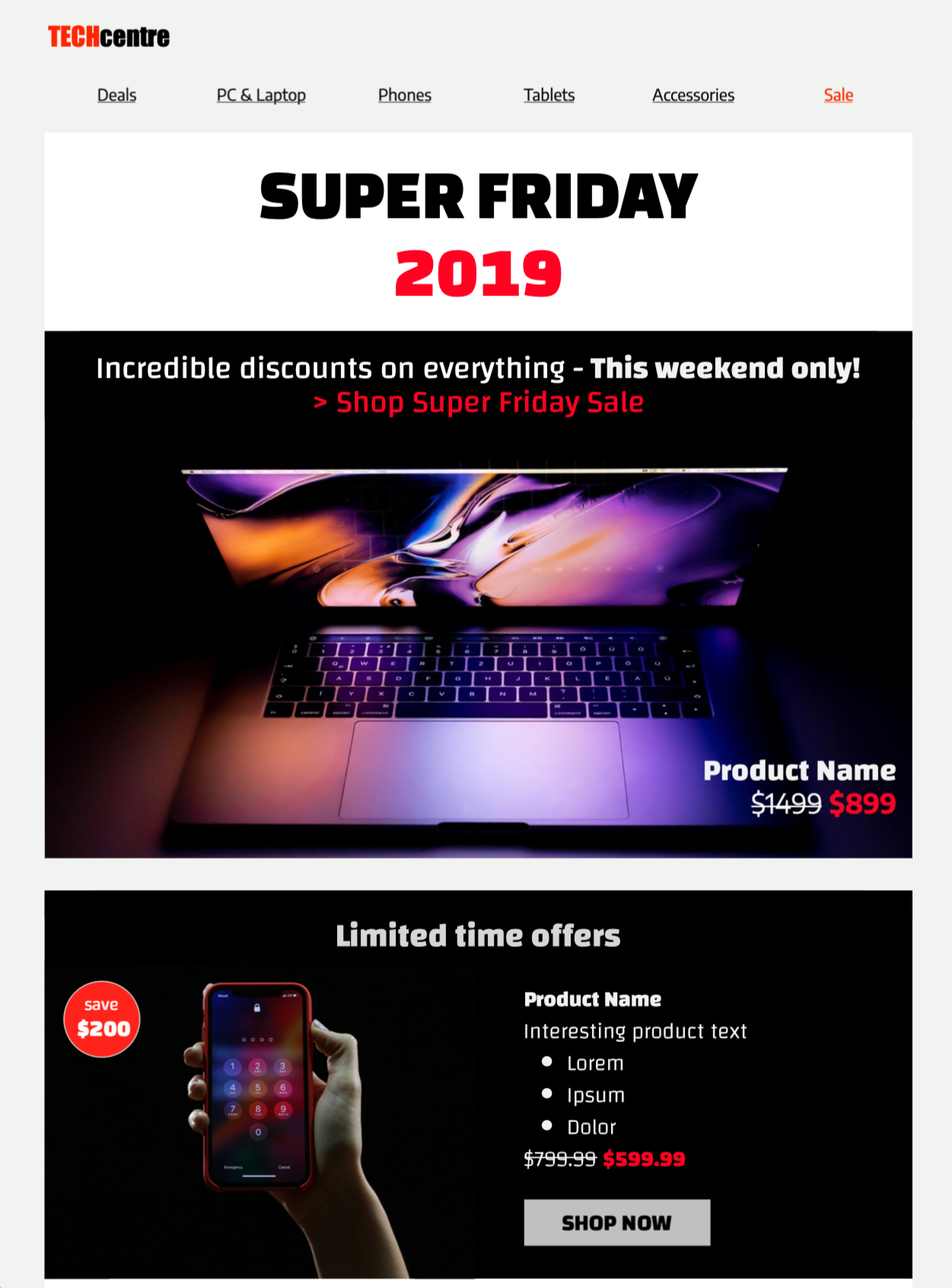 Black Friday email template for sales