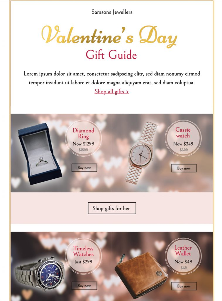 HTML email template for Valentine's Day email promotions