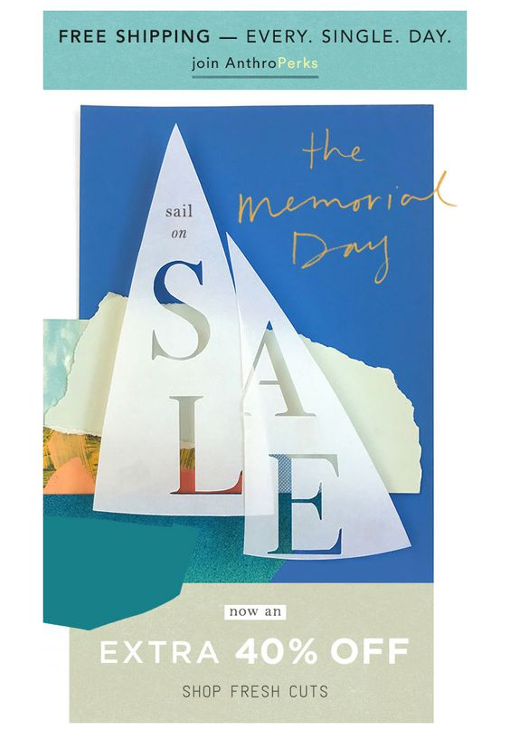 Memorial Day email campaign by Anthropologie