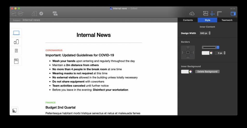 Internal newsletter built in Mail Designer 365