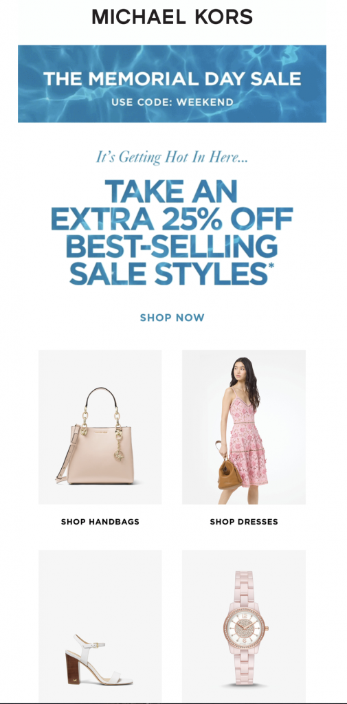Memorial Day email campaign by Michael Kors