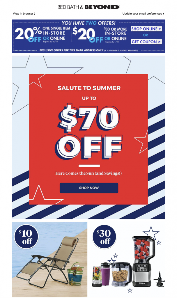 Memorial Day email campaign by Bed Bath & Beyond
