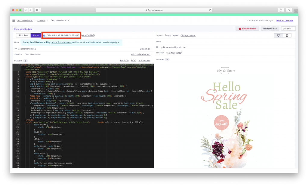 Exporting a Mail Designer 365 template to Customer.io