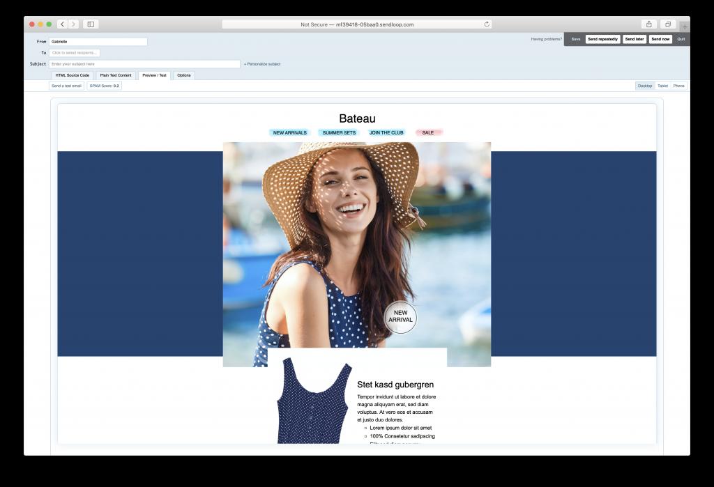 Mail Designer 365 email design in Sendloop
