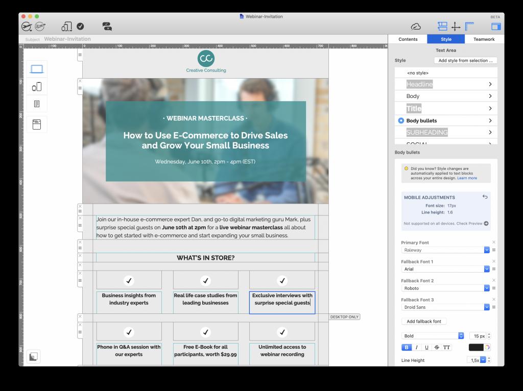 Webinar email invitation made in Mail Designer 365