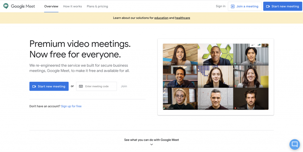 Google Meet online video meeting software