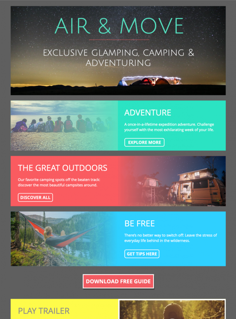 camping adventure html email template