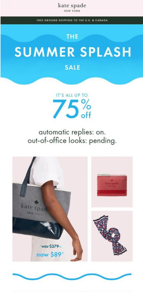 Memorial Day email campaign by Kate Spade