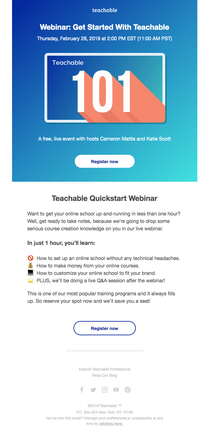 Webinar invitation email by Teachable