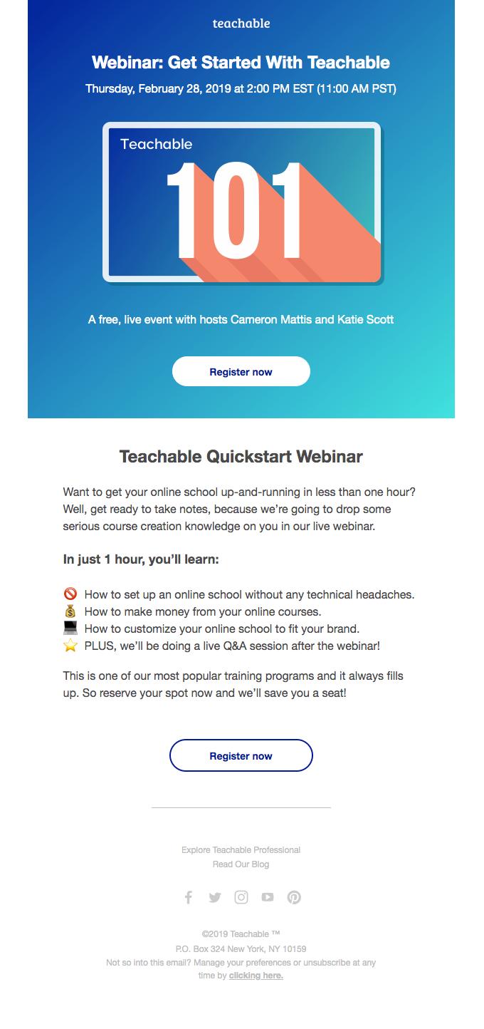Webinar invitation email by Teachable