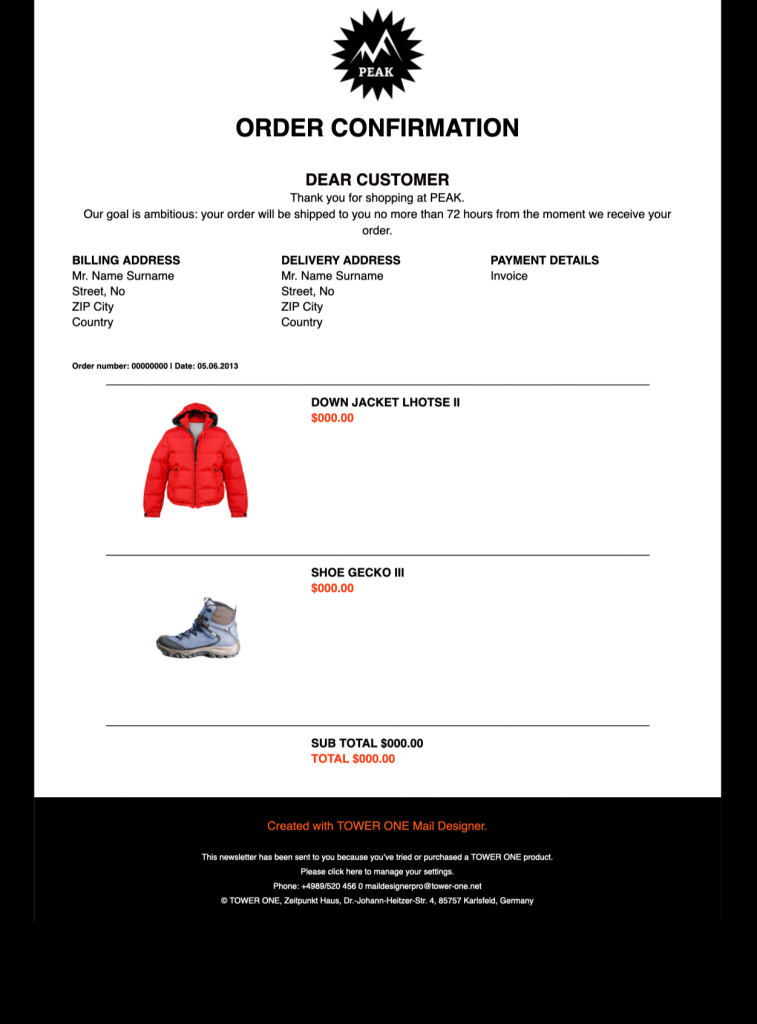 classic order confirmation html email template