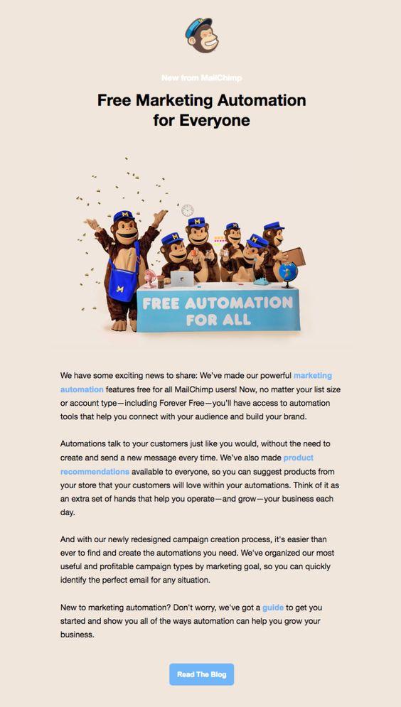 Mailchimp email announcement
