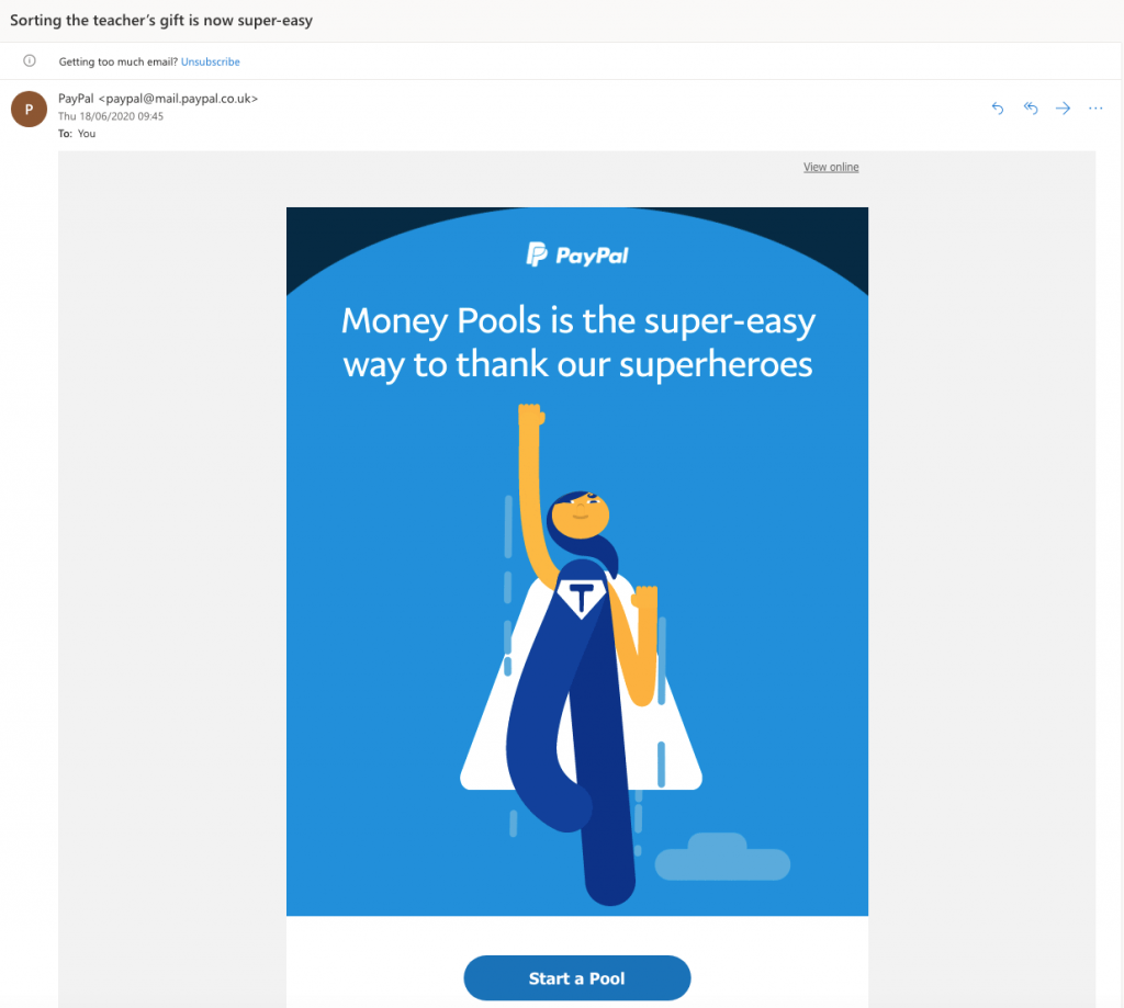 Email campaign by PayPal