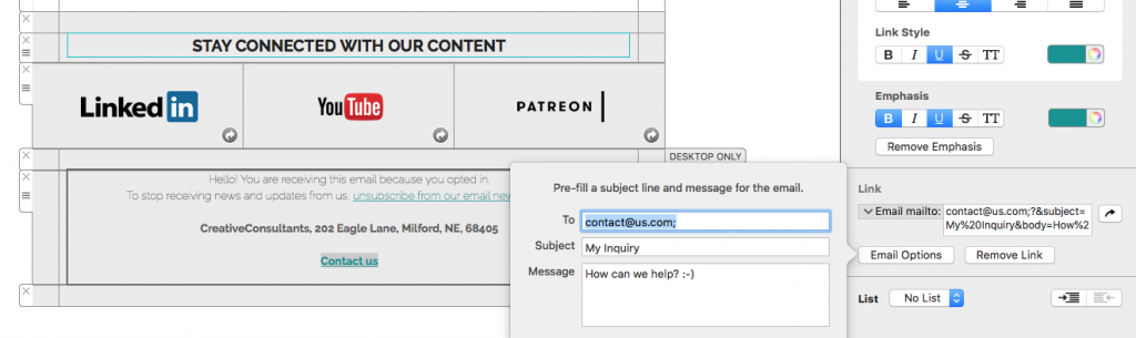 Email mailto link options in Mail Designer 365