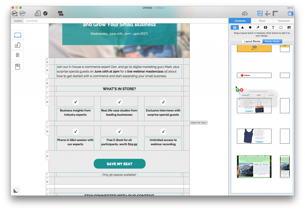 Ready made layout blocks for email disclaimers in Mail Designer 365