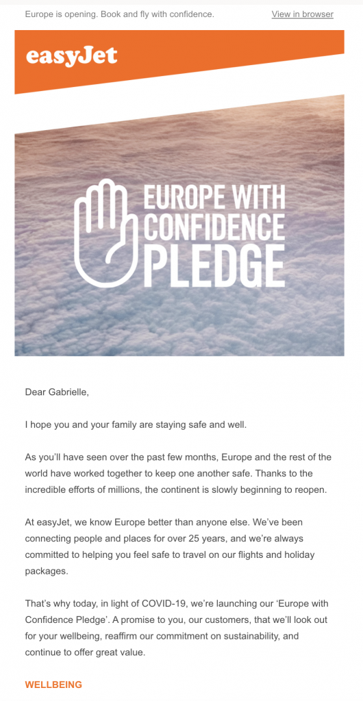 email announcement by easyJet
