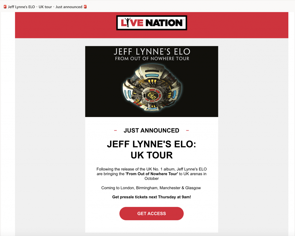 Tour announcement email by Live Nation