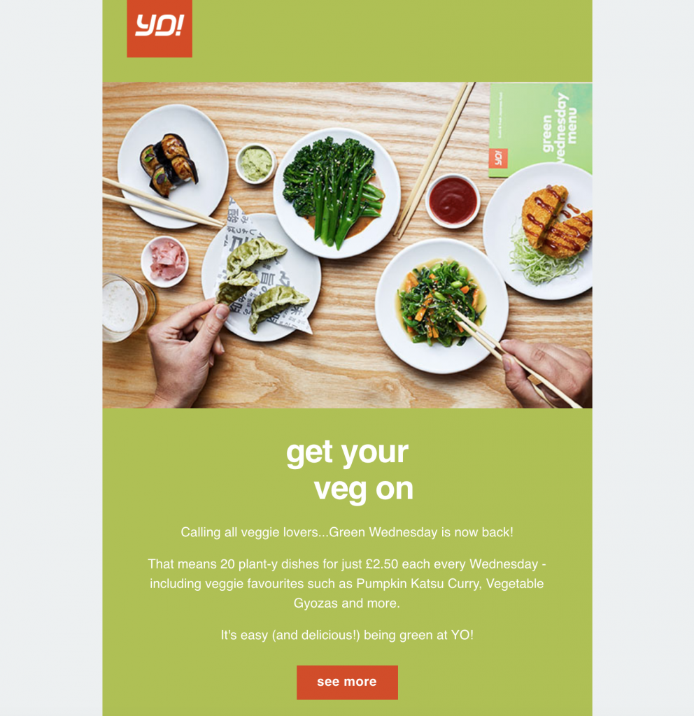email announcement by YO! Sushi