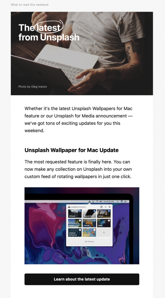 Email newsletter by Unsplash
