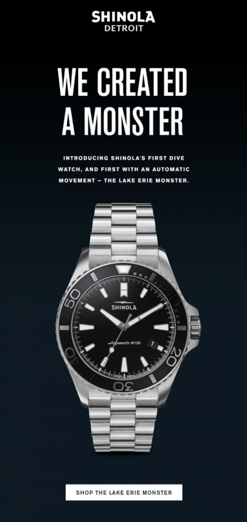 new product announcement email by Shinola