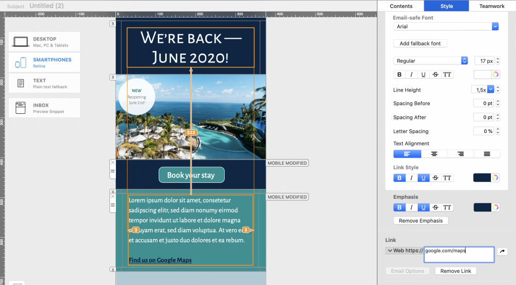 Create mobile responsive emails in Mail Designer 365